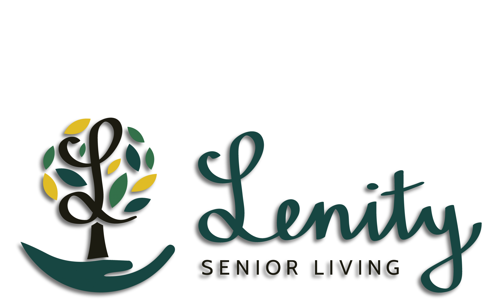 "Lenity Senior Living Logo sitting above the text ""a place full of life. Logo is a round topped tree made of a cursive letter L sitting in a cupped hand with the words Lenity Senior Living to the right. The image links to the homepage."